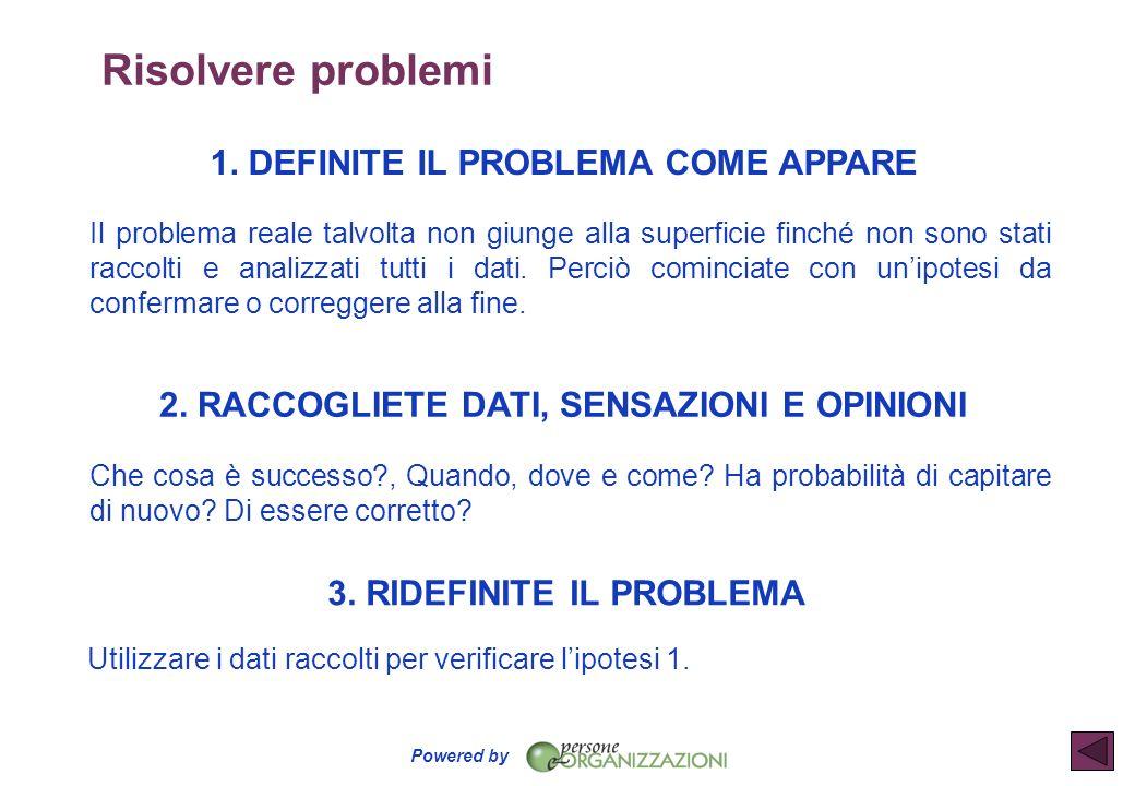 Powered by 1. DEFINITE IL PROBLEMA COME APPARE Il problema reale talvolta non giunge alla superficie finché non sono stati raccolti e analizzati tutti