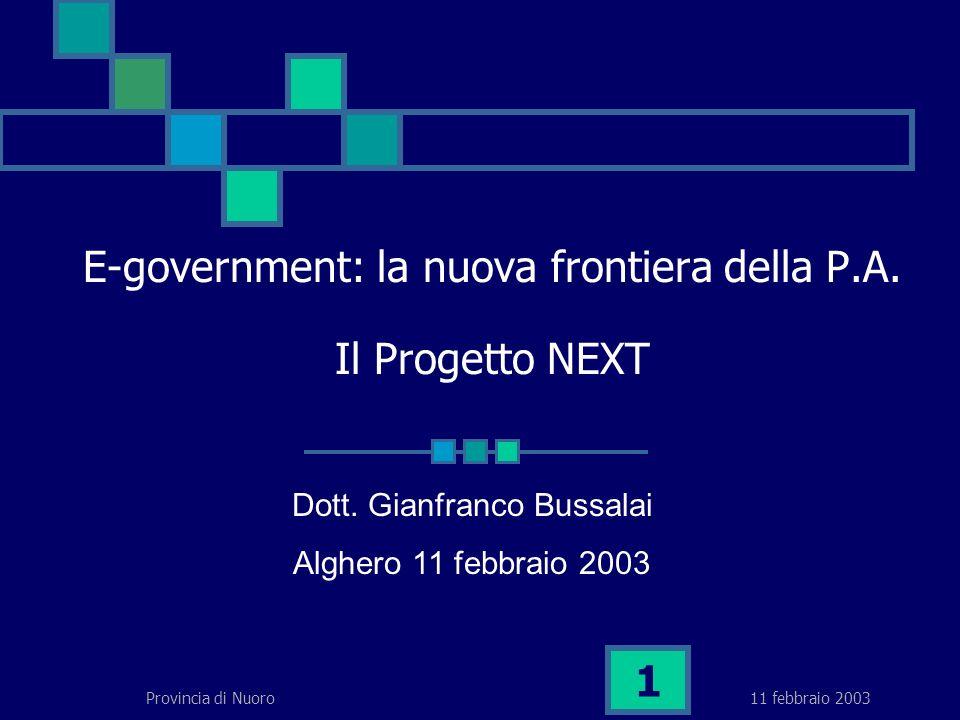 11 febbraio 2003Provincia di Nuoro 1 E-government: la nuova frontiera della P.A.