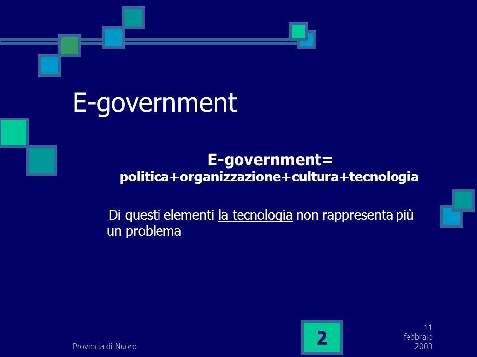 11 febbraio 2003Provincia di Nuoro 2 E-government E-government= politica+organizzazione+cultura+tecnologia Di questi elementi la tecnologia non rappresenta più un problema
