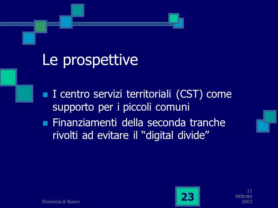 11 febbraio 2003Provincia di Nuoro 23 Le prospettive I centro servizi territoriali (CST) come supporto per i piccoli comuni Finanziamenti della seconda tranche rivolti ad evitare il digital divide