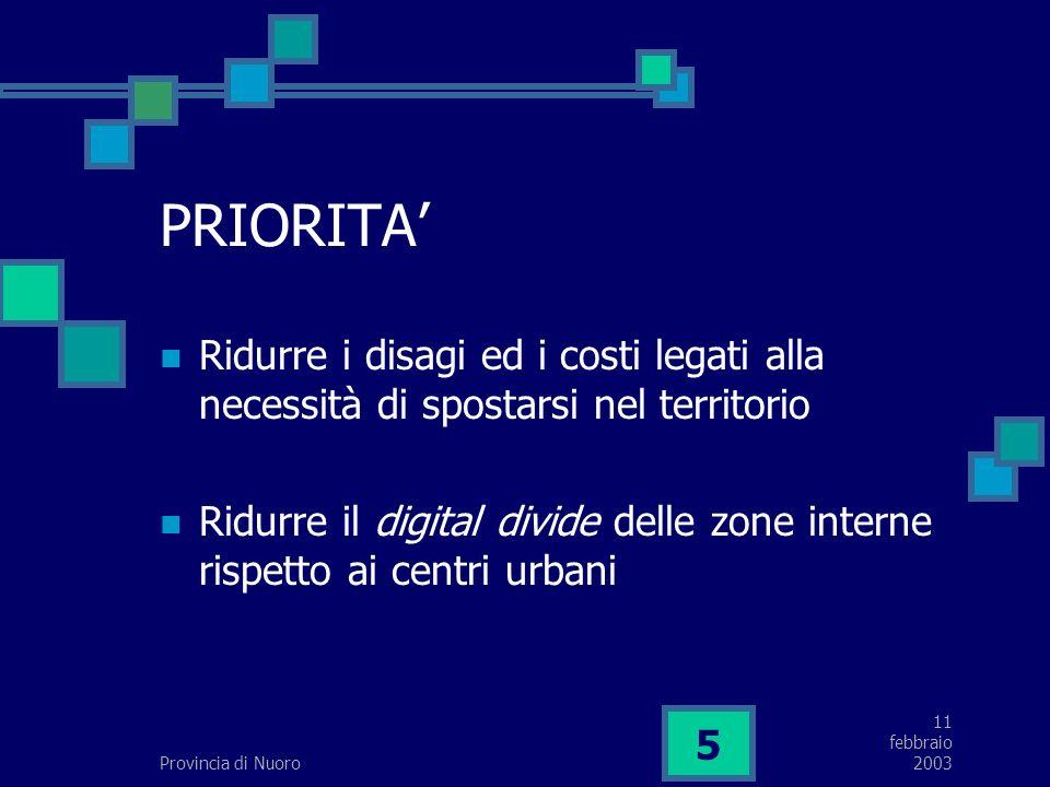 11 febbraio 2003Provincia di Nuoro 5 PRIORITA Ridurre i disagi ed i costi legati alla necessità di spostarsi nel territorio Ridurre il digital divide delle zone interne rispetto ai centri urbani