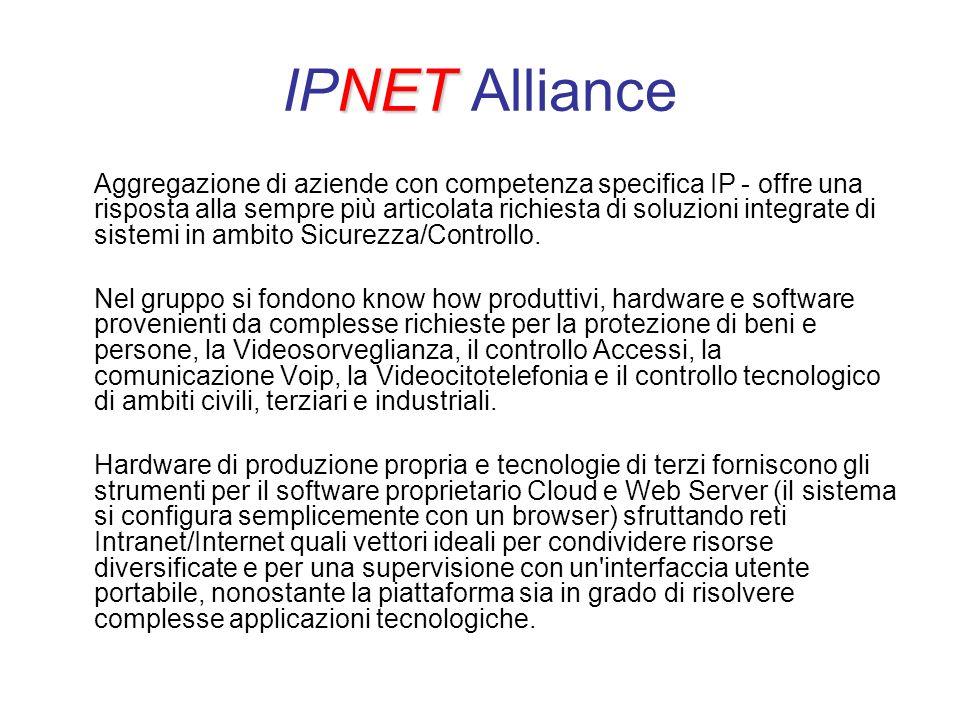 NET IPNET Alliance Aggregazione di aziende con competenza specifica IP - offre una risposta alla sempre più articolata richiesta di soluzioni integrate di sistemi in ambito Sicurezza/Controllo.