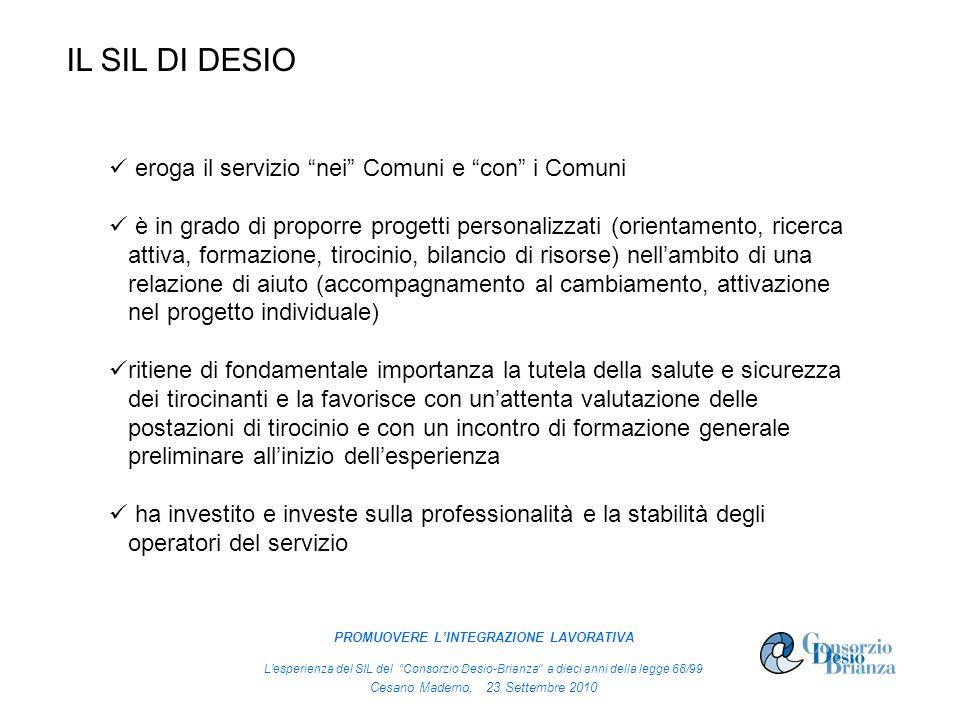IL SIL DI DESIO eroga il servizio nei Comuni e con i Comuni è in grado di proporre progetti personalizzati (orientamento, ricerca attiva, formazione,
