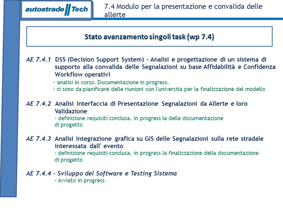 7.4 Modulo per la presentazione e convalida delle allerte AE 7.4.1 DSS (Decision Support System) – Analisi e progettazione di un sistema di supporto a