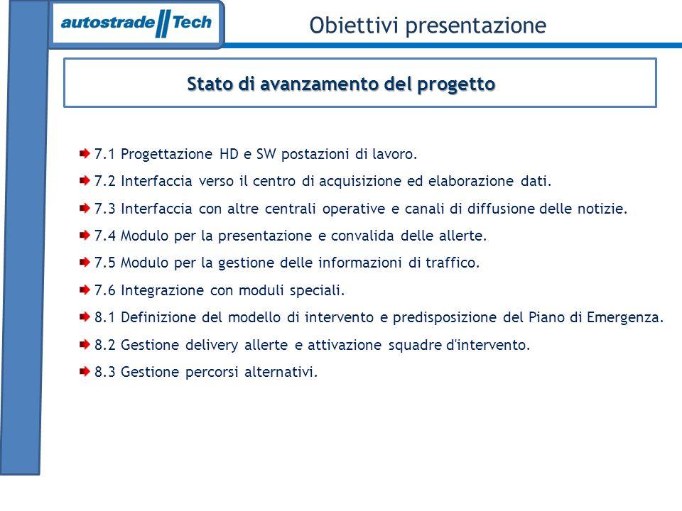 Stato di avanzamento del progetto Obiettivi presentazione 7.1 Progettazione HD e SW postazioni di lavoro. 7.2 Interfaccia verso il centro di acquisizi