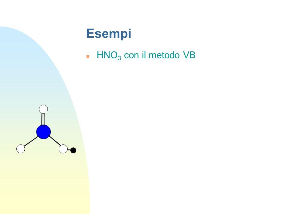 Esempi NH 3 con il metodo VB N 4 ibridi sp 3 H N NH 3 con il metodo MO 3 legami ed 1 coppia solitaria sullatomo di N diventano: 3 OM leganti+ 3 OM ant