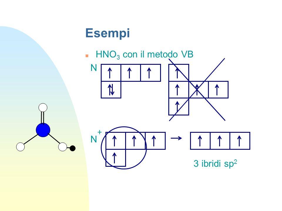 Esempi HNO 3 con il metodo VB N N + 3 ibridi sp 2