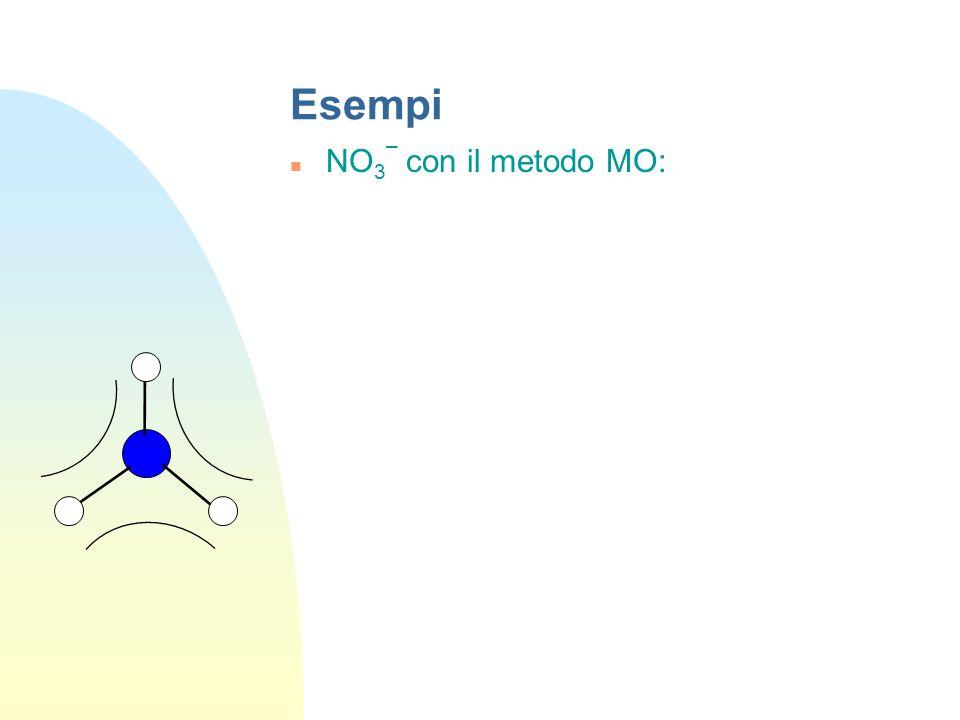 Esempi HNO 3 con il metodo MO 4 legami ed una coppia solitaria sullatomo N diventano 4 OM leganti + 4 OM antileganti + 1 OM non legante N ONON