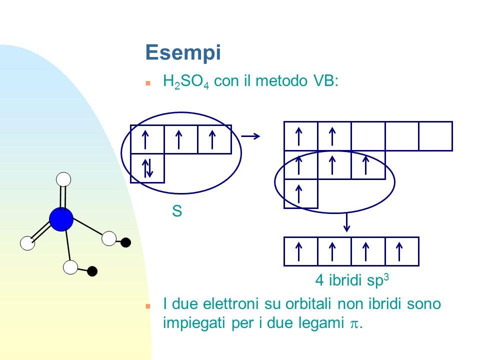 Esempi H 2 SO 4 con il metodo VB: S 4 ibridi sp 3