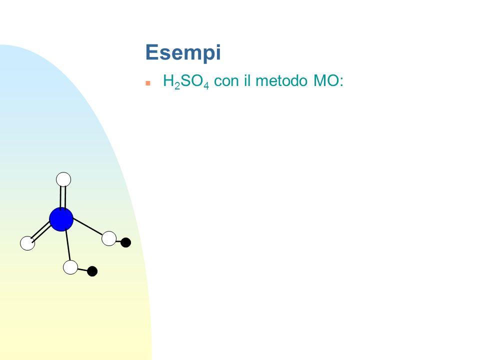 Esempi H 2 SO 4 con il metodo VB: S 4 ibridi sp 3 I due elettroni su orbitali non ibridi sono impiegati per i due legami.