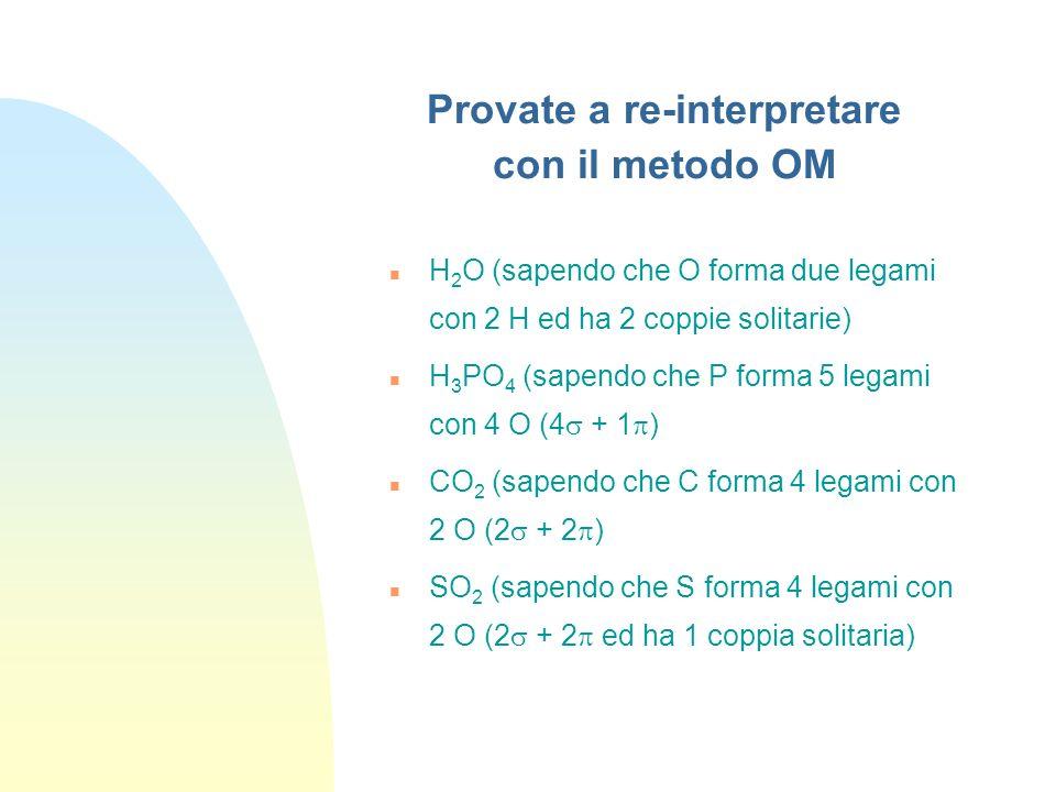 Esempi H 2 SO 4 con il metodo MO: 6 legami (4 + 2 ) diventano 6 OM leganti + 6 OM antileganti S O OH O O