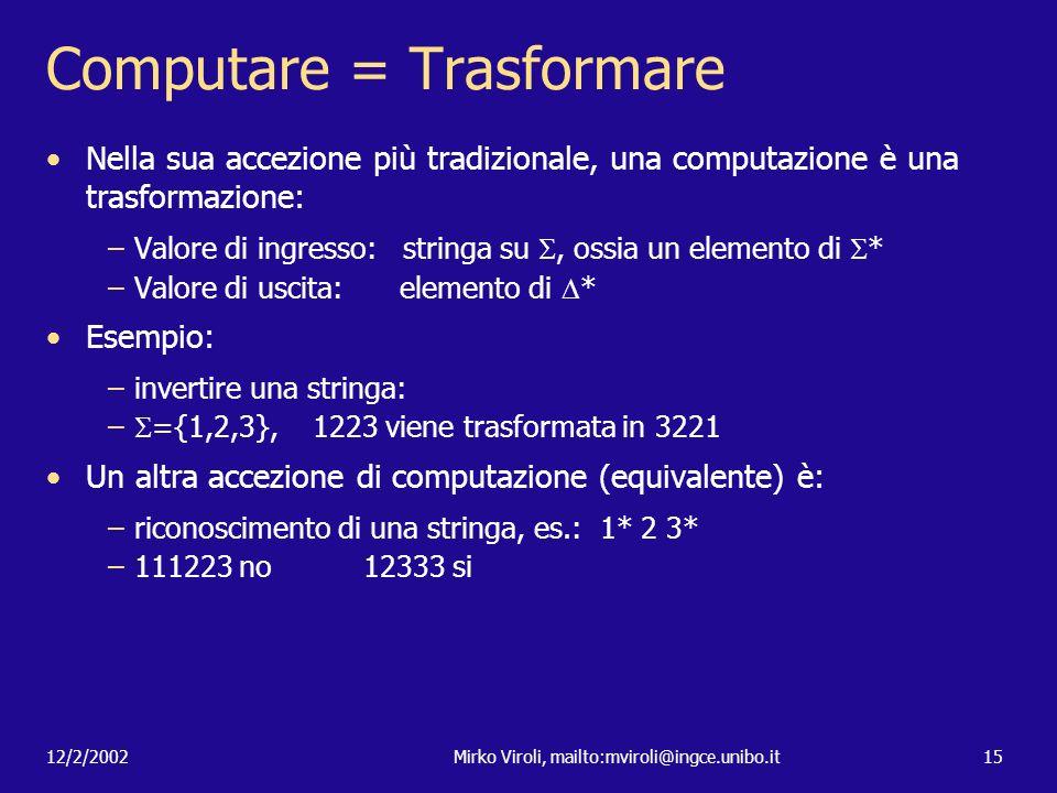 12/2/2002Mirko Viroli, mailto:mviroli@ingce.unibo.it15 Computare = Trasformare Nella sua accezione più tradizionale, una computazione è una trasformaz