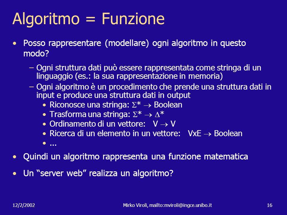 12/2/2002Mirko Viroli, mailto:mviroli@ingce.unibo.it16 Algoritmo = Funzione Posso rappresentare (modellare) ogni algoritmo in questo modo? –Ogni strut