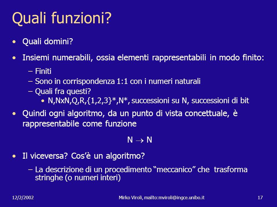12/2/2002Mirko Viroli, mailto:mviroli@ingce.unibo.it17 Quali funzioni? Quali domini? Insiemi numerabili, ossia elementi rappresentabili in modo finito