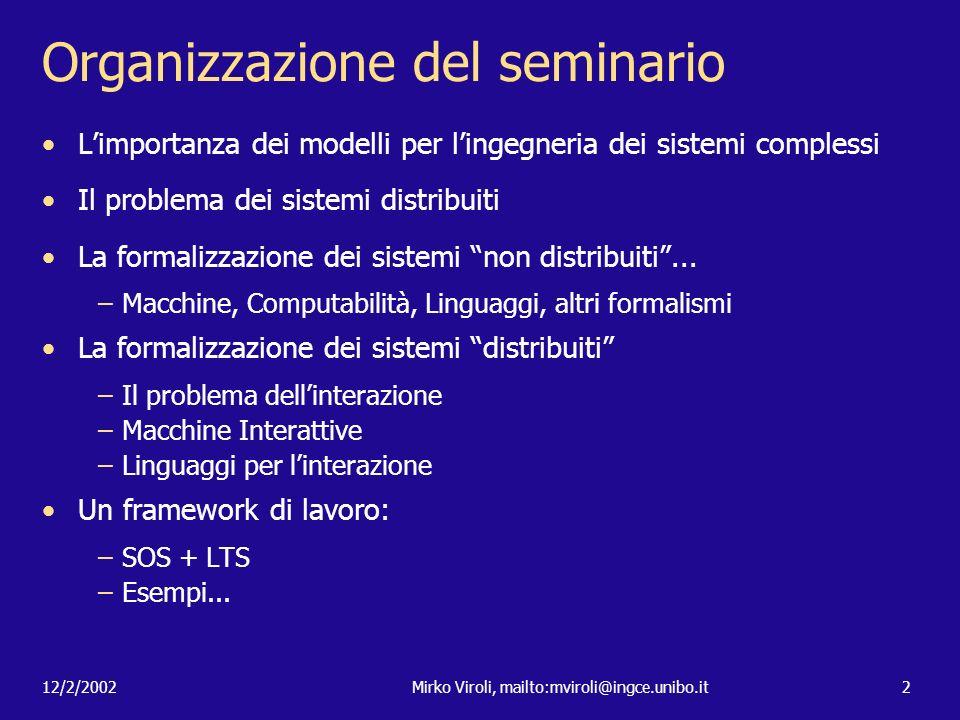 12/2/2002Mirko Viroli, mailto:mviroli@ingce.unibo.it2 Organizzazione del seminario Limportanza dei modelli per lingegneria dei sistemi complessi Il pr
