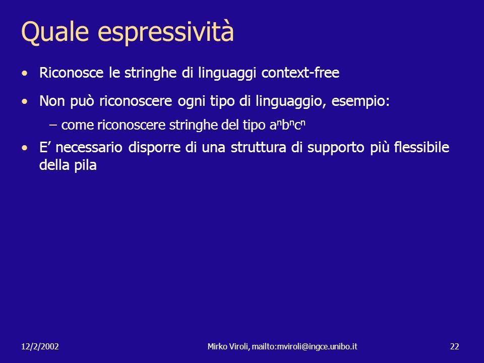 12/2/2002Mirko Viroli, mailto:mviroli@ingce.unibo.it22 Quale espressività Riconosce le stringhe di linguaggi context-free Non può riconoscere ogni tip