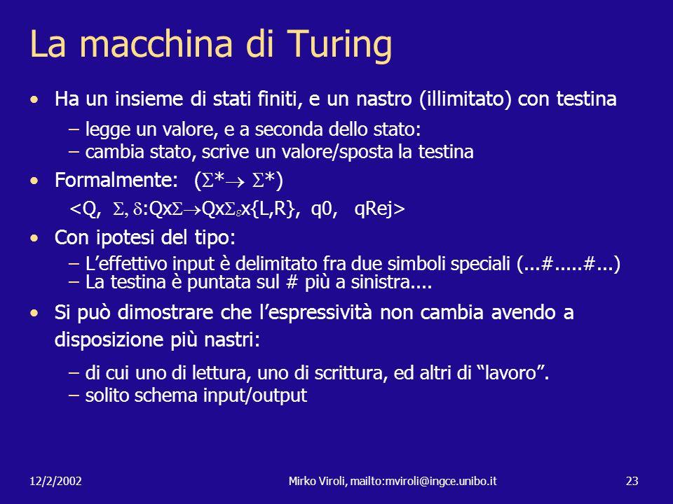12/2/2002Mirko Viroli, mailto:mviroli@ingce.unibo.it23 La macchina di Turing Ha un insieme di stati finiti, e un nastro (illimitato) con testina –legg