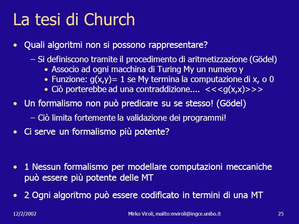 12/2/2002Mirko Viroli, mailto:mviroli@ingce.unibo.it25 La tesi di Church Quali algoritmi non si possono rappresentare? –Si definiscono tramite il proc