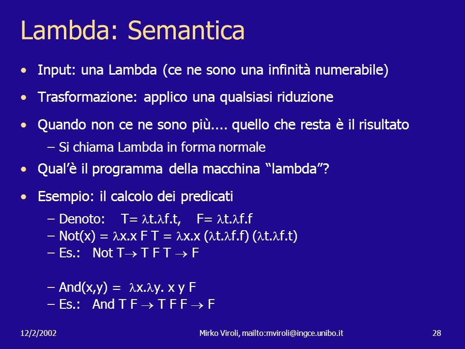 12/2/2002Mirko Viroli, mailto:mviroli@ingce.unibo.it28 Lambda: Semantica Input: una Lambda (ce ne sono una infinità numerabile) Trasformazione: applic