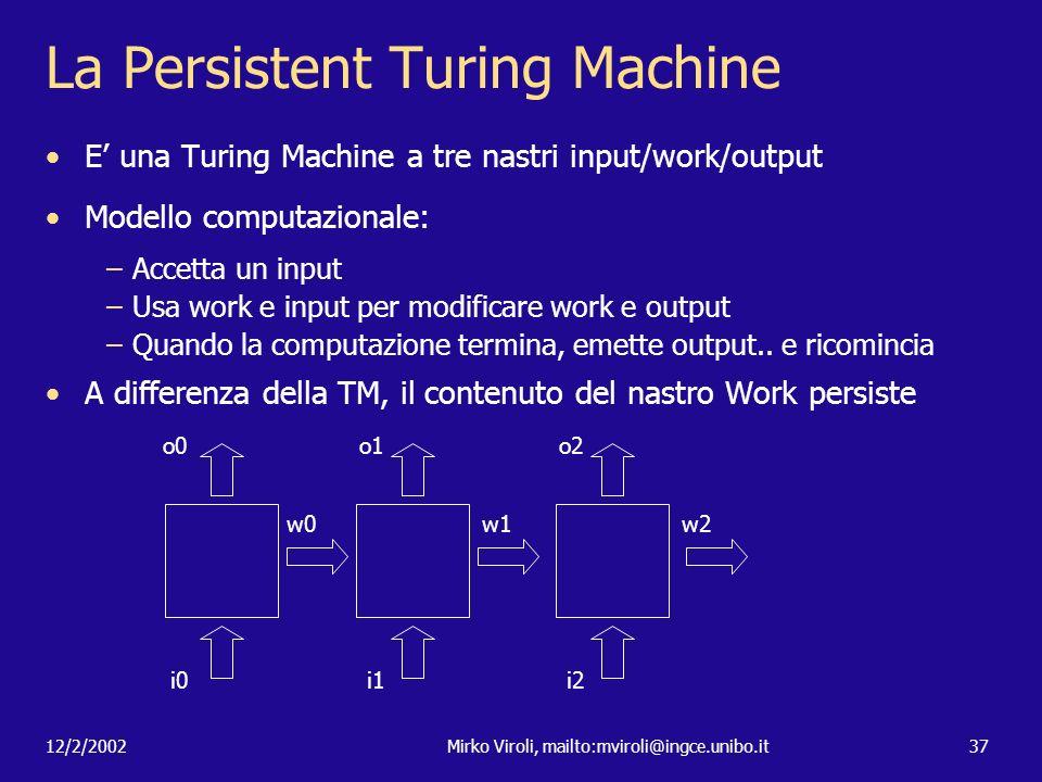 12/2/2002Mirko Viroli, mailto:mviroli@ingce.unibo.it37 La Persistent Turing Machine E una Turing Machine a tre nastri input/work/output Modello comput