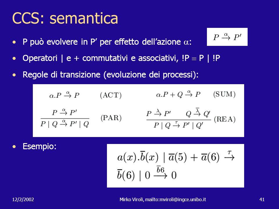 12/2/2002Mirko Viroli, mailto:mviroli@ingce.unibo.it41 CCS: semantica P può evolvere in P per effetto dellazione : Operatori | e + commutativi e assoc