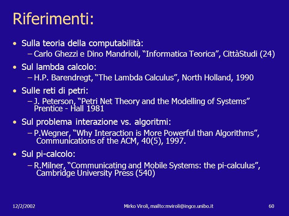 12/2/2002Mirko Viroli, mailto:mviroli@ingce.unibo.it60 Riferimenti: Sulla teoria della computabilità: –Carlo Ghezzi e Dino Mandrioli, Informatica Teor