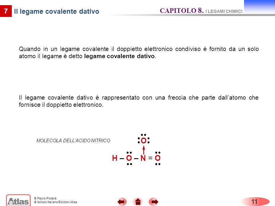 © Paolo Pistarà © Istituto Italiano Edizioni Atlas 11 7 Il legame covalente dativo Quando in un legame covalente il doppietto elettronico condiviso è fornito da un solo atomo il legame è detto legame covalente dativo.