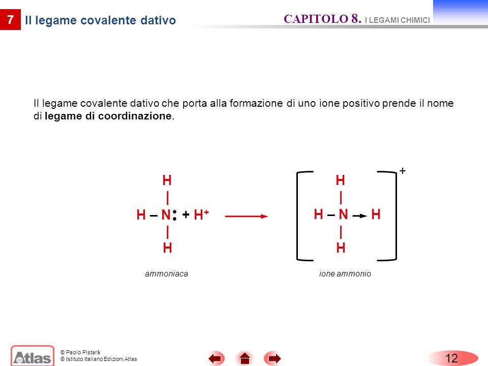 © Paolo Pistarà © Istituto Italiano Edizioni Atlas 12 7 Il legame covalente dativo Il legame covalente dativo che porta alla formazione di uno ione positivo prende il nome di legame di coordinazione.
