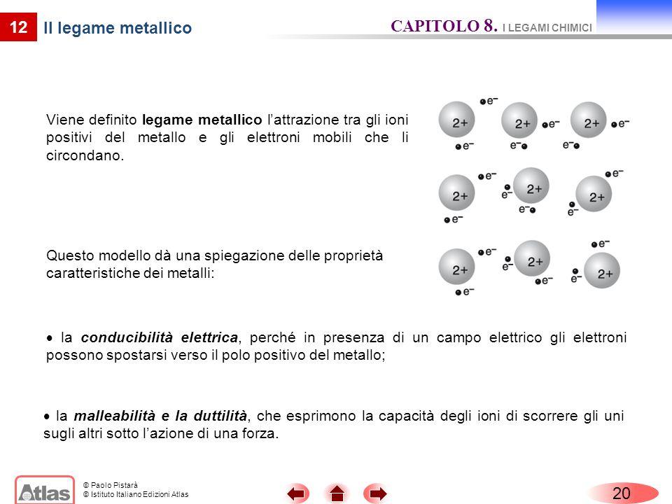 © Paolo Pistarà © Istituto Italiano Edizioni Atlas 20 12 Il legame metallico Viene definito legame metallico lattrazione tra gli ioni positivi del metallo e gli elettroni mobili che li circondano.