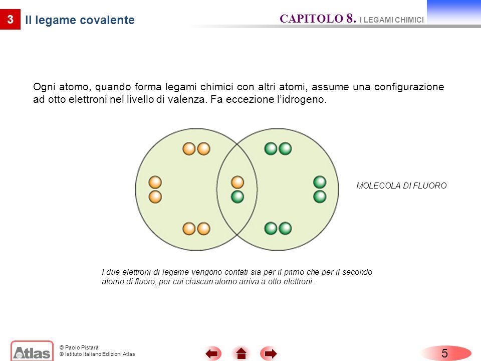 © Paolo Pistarà © Istituto Italiano Edizioni Atlas Ogni atomo, quando forma legami chimici con altri atomi, assume una configurazione ad otto elettroni nel livello di valenza.