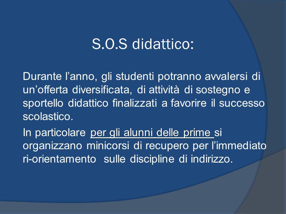 S.O.S didattico: Durante lanno, gli studenti potranno avvalersi di unofferta diversificata, di attività di sostegno e sportello didattico finalizzati a favorire il successo scolastico.