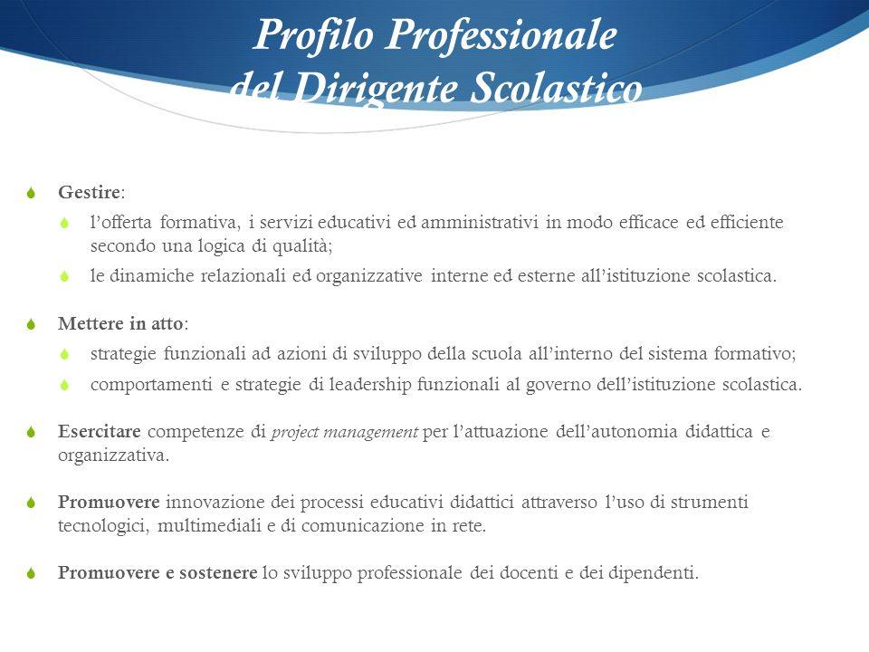 Profilo Professionale del Dirigente Scolastico Gestire : lofferta formativa, i servizi educativi ed amministrativi in modo efficace ed efficiente seco