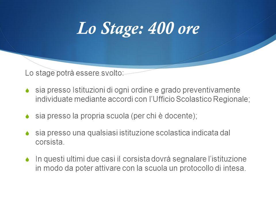 Lo Stage: 400 ore Lo stage potrà essere svolto: sia presso Istituzioni di ogni ordine e grado preventivamente individuate mediante accordi con lUffici