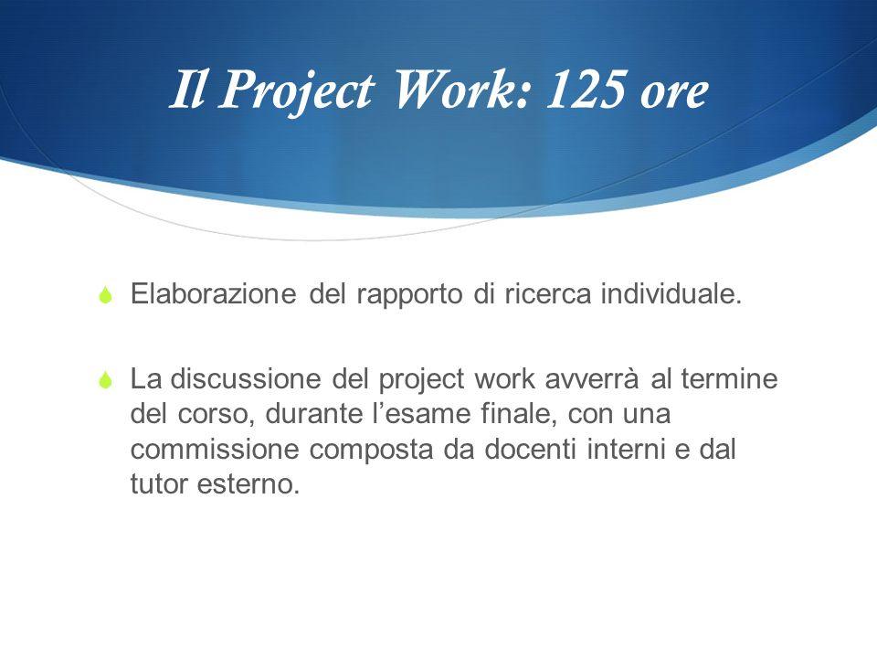 Il Project Work: 125 ore Elaborazione del rapporto di ricerca individuale. La discussione del project work avverrà al termine del corso, durante lesam