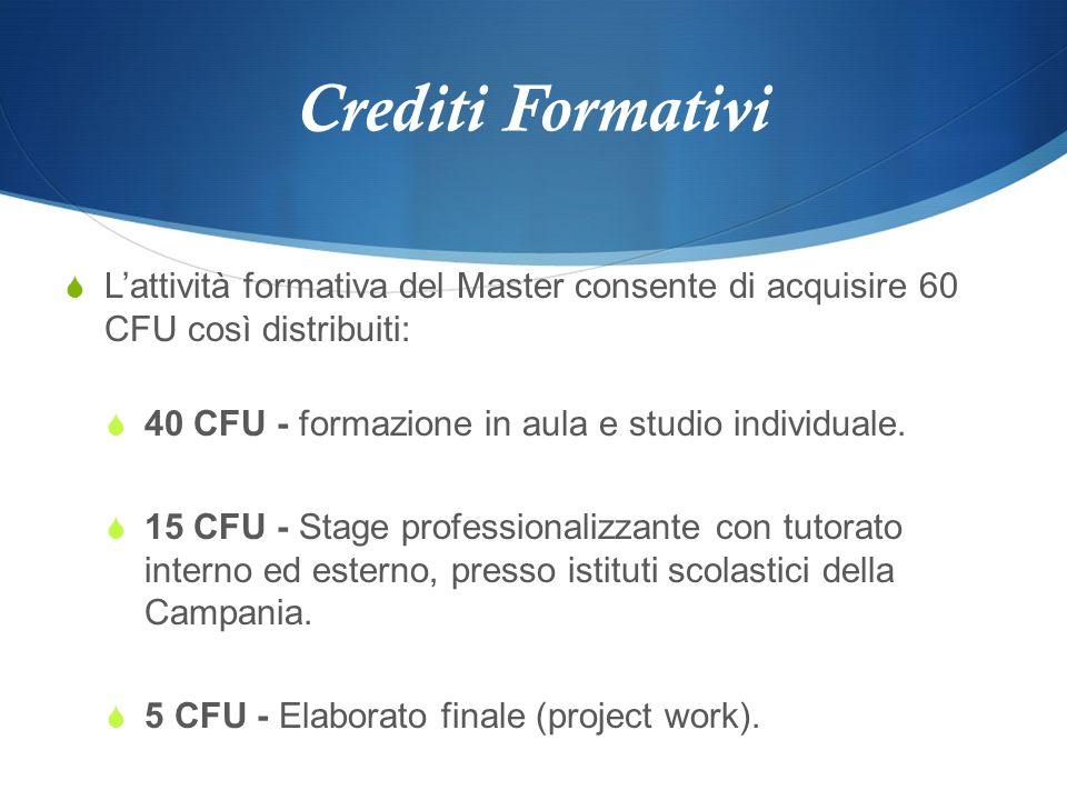 Crediti Formativi Lattività formativa del Master consente di acquisire 60 CFU così distribuiti: 40 CFU - formazione in aula e studio individuale. 15 C