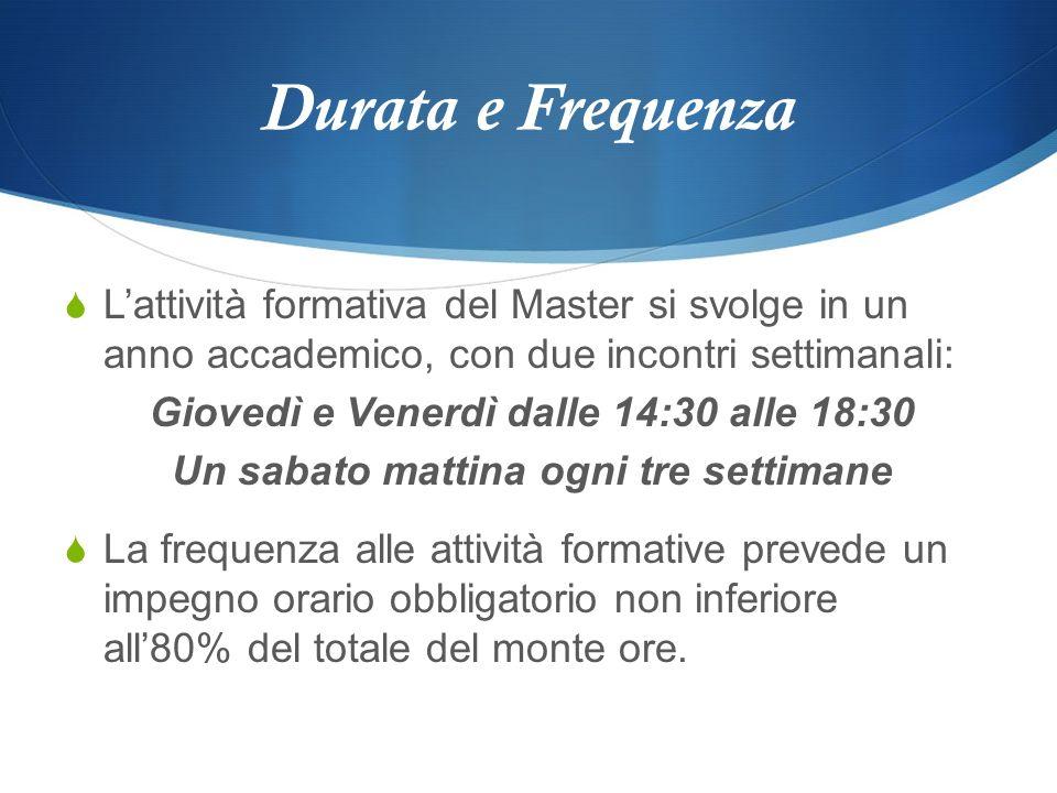 Durata e Frequenza Lattività formativa del Master si svolge in un anno accademico, con due incontri settimanali: Giovedì e Venerdì dalle 14:30 alle 18
