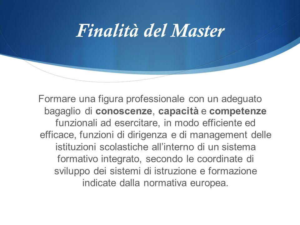 Finalità del Master Formare una figura professionale con un adeguato bagaglio di conoscenze, capacità e competenze funzionali ad esercitare, in modo e
