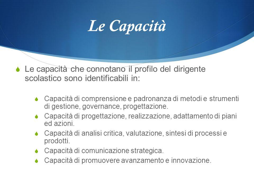 Le Capacità Le capacità che connotano il profilo del dirigente scolastico sono identificabili in: Capacità di comprensione e padronanza di metodi e st