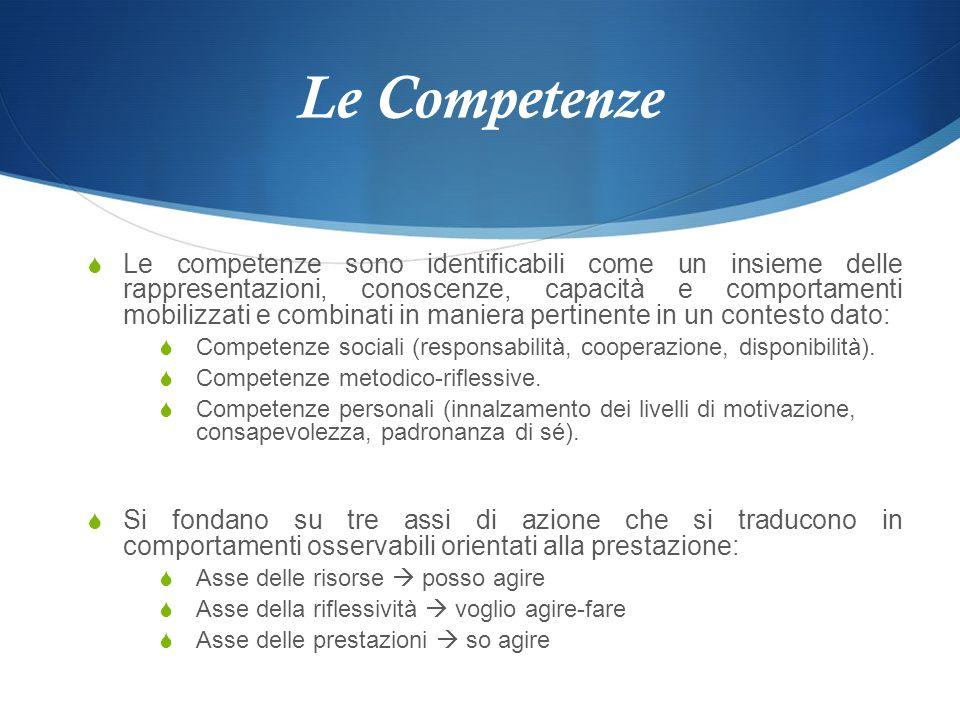 Le Competenze Le competenze sono identificabili come un insieme delle rappresentazioni, conoscenze, capacità e comportamenti mobilizzati e combinati i