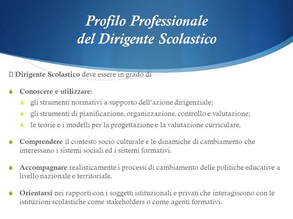 Profilo Professionale del Dirigente Scolastico Il Dirigente Scolastico deve essere in grado di Conoscere e utilizzare : gli strumenti normativi a supp