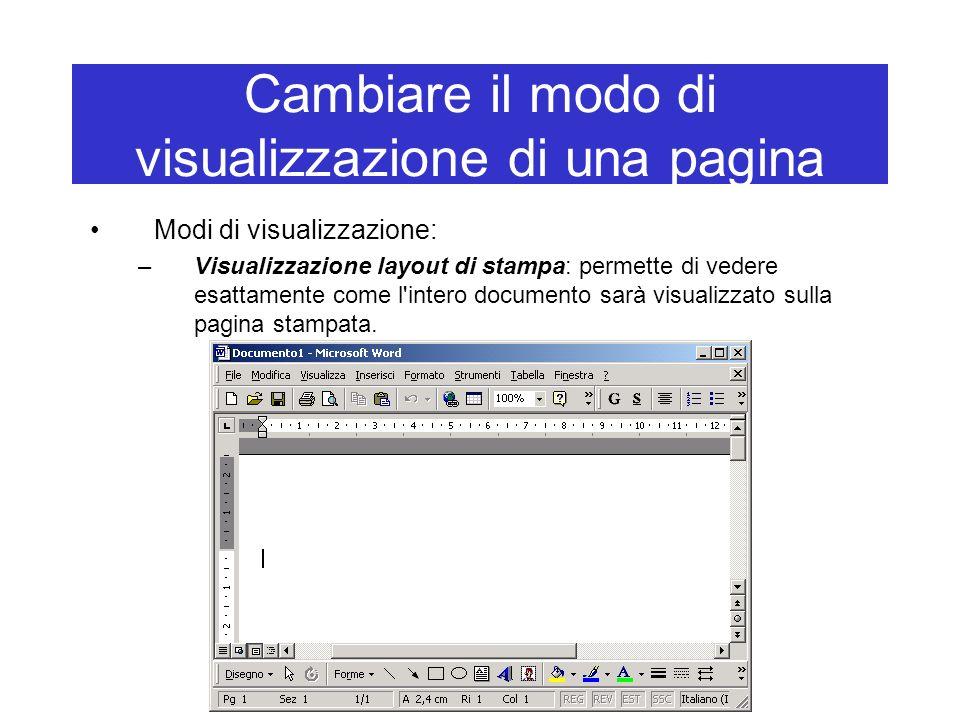 Cambiare il modo di visualizzazione di una pagina Modi di visualizzazione: –Visualizzazione layout di stampa: permette di vedere esattamente come l'in