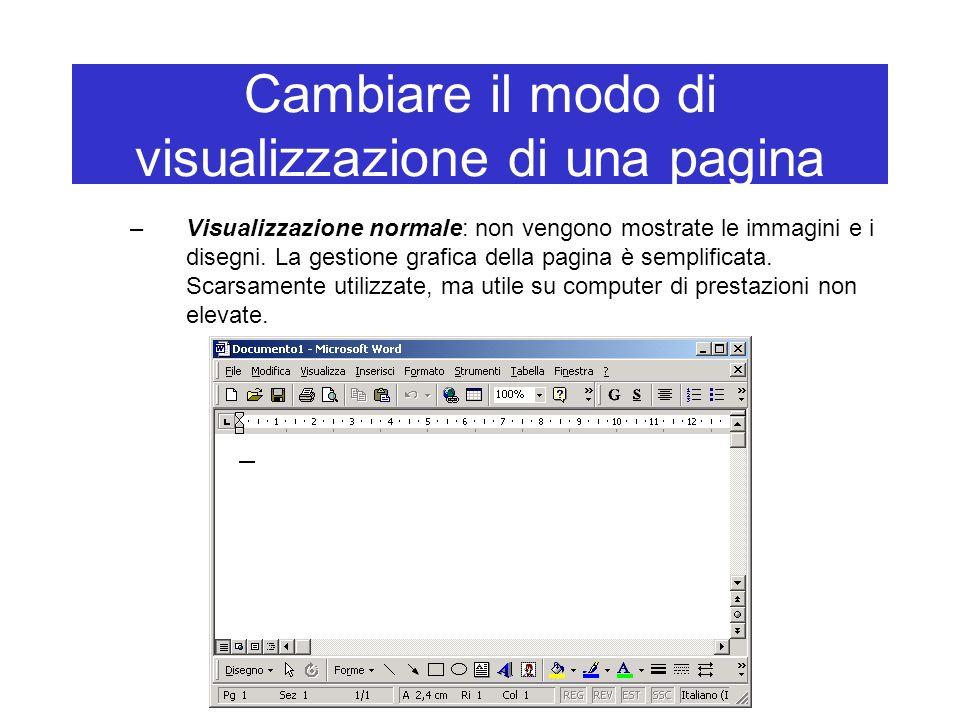 Cambiare il modo di visualizzazione di una pagina –Visualizzazione normale: non vengono mostrate le immagini e i disegni. La gestione grafica della pa