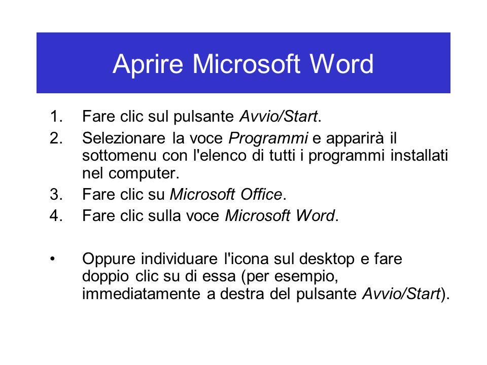 Aprire Microsoft Word 1.Fare clic sul pulsante Avvio/Start. 2.Selezionare la voce Programmi e apparirà il sottomenu con l'elenco di tutti i programmi