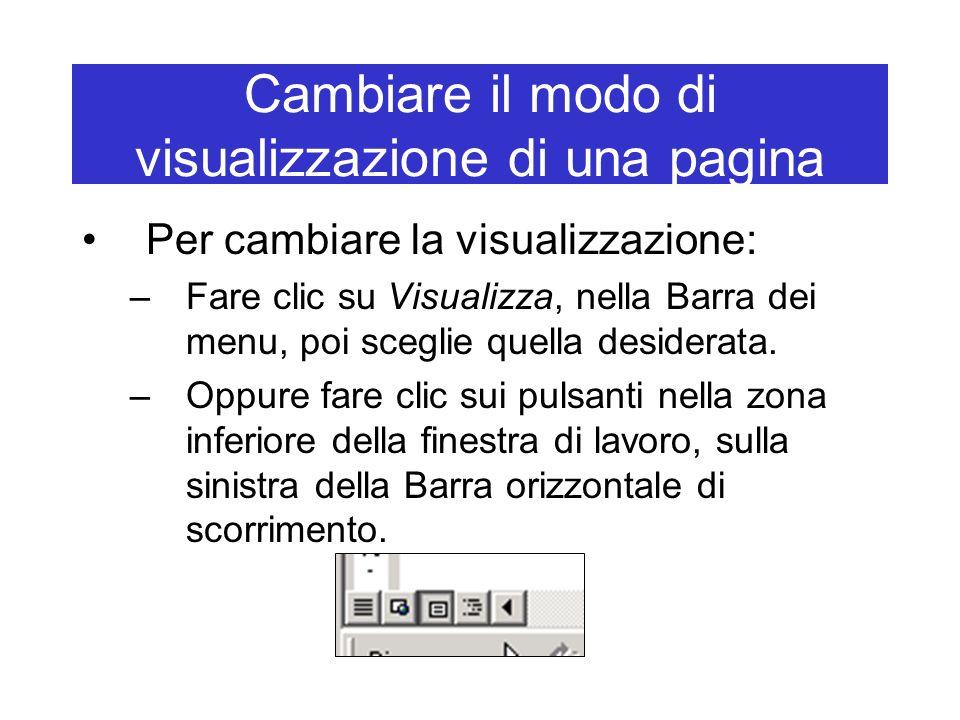 Cambiare il modo di visualizzazione di una pagina Per cambiare la visualizzazione: –Fare clic su Visualizza, nella Barra dei menu, poi sceglie quella