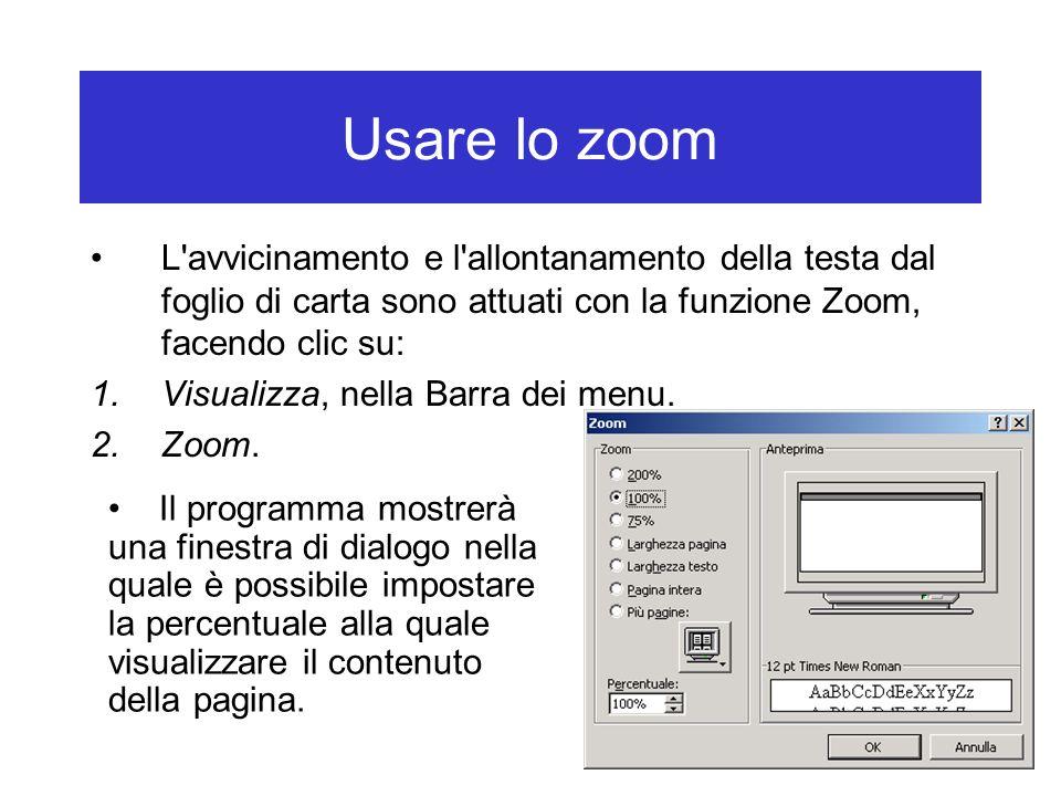 Usare lo zoom L'avvicinamento e l'allontanamento della testa dal foglio di carta sono attuati con la funzione Zoom, facendo clic su: 1.Visualizza, nel
