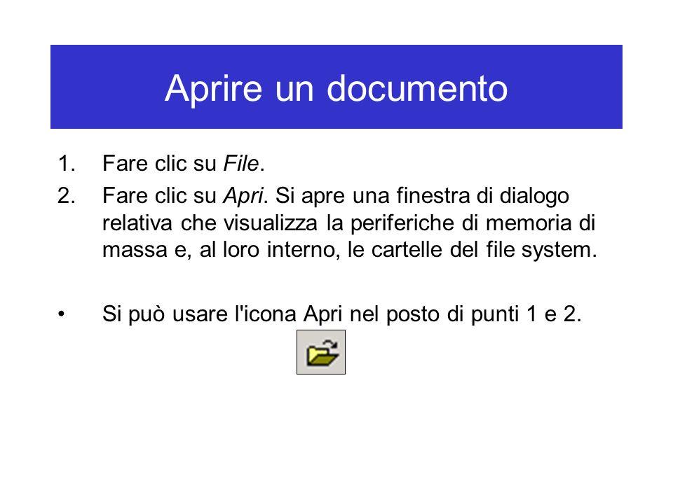 Aprire un documento 1.Fare clic su File. 2.Fare clic su Apri. Si apre una finestra di dialogo relativa che visualizza la periferiche di memoria di mas