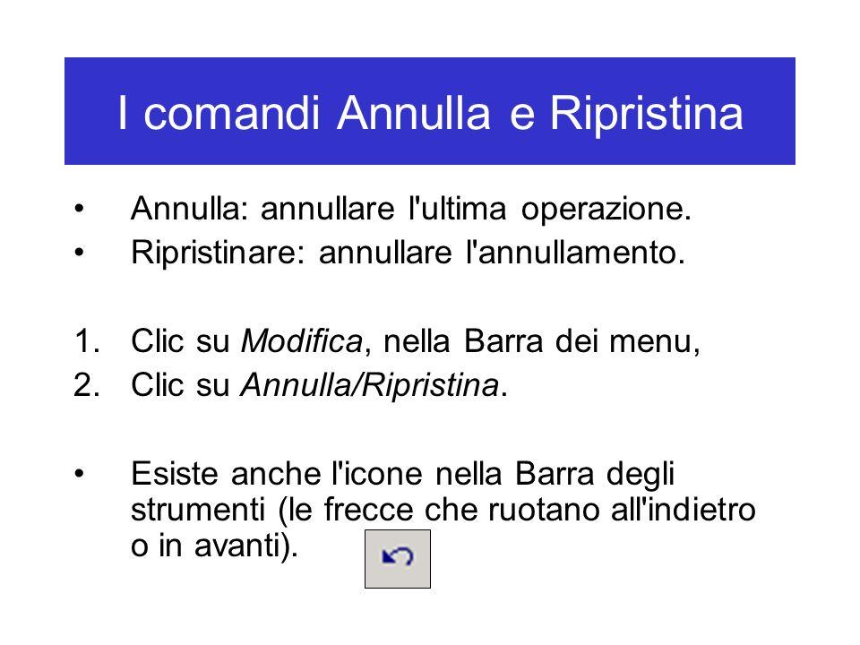 I comandi Annulla e Ripristina Annulla: annullare l'ultima operazione. Ripristinare: annullare l'annullamento. 1.Clic su Modifica, nella Barra dei men