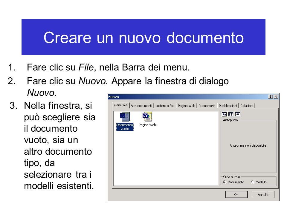 Creare un nuovo documento 1.Fare clic su File, nella Barra dei menu. 2.Fare clic su Nuovo. Appare la finestra di dialogo Nuovo. 3.Nella finestra, si p