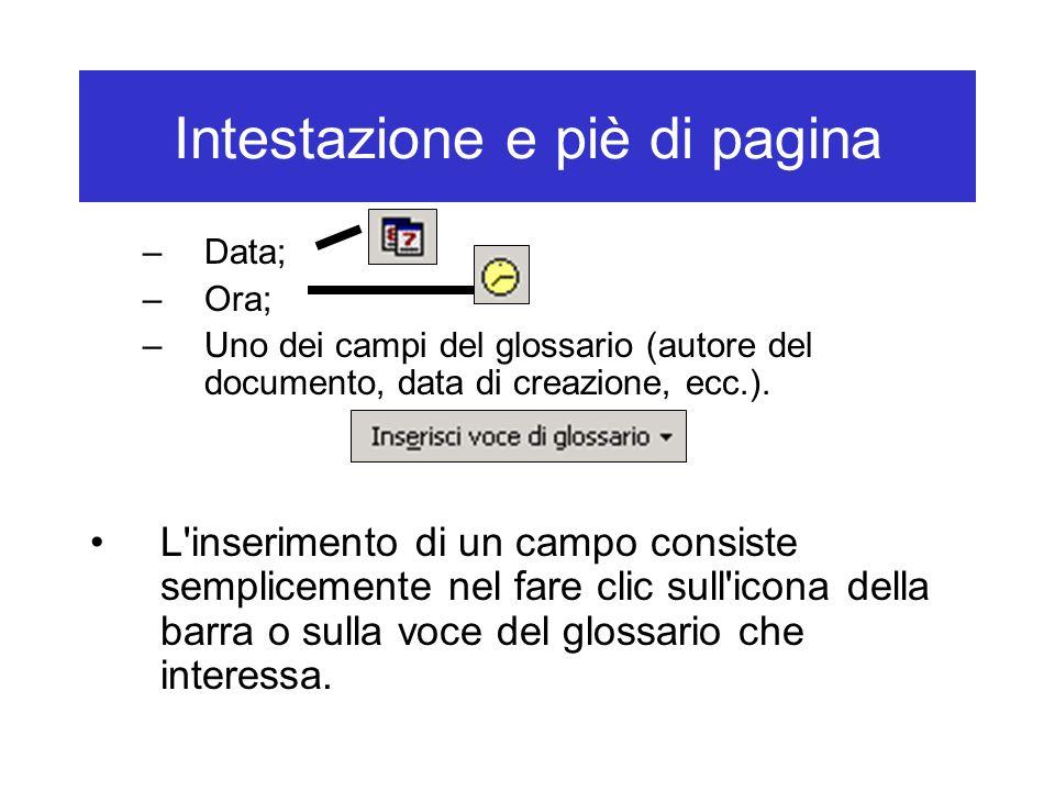 Intestazione e piè di pagina –Data; –Ora; –Uno dei campi del glossario (autore del documento, data di creazione, ecc.). L'inserimento di un campo cons