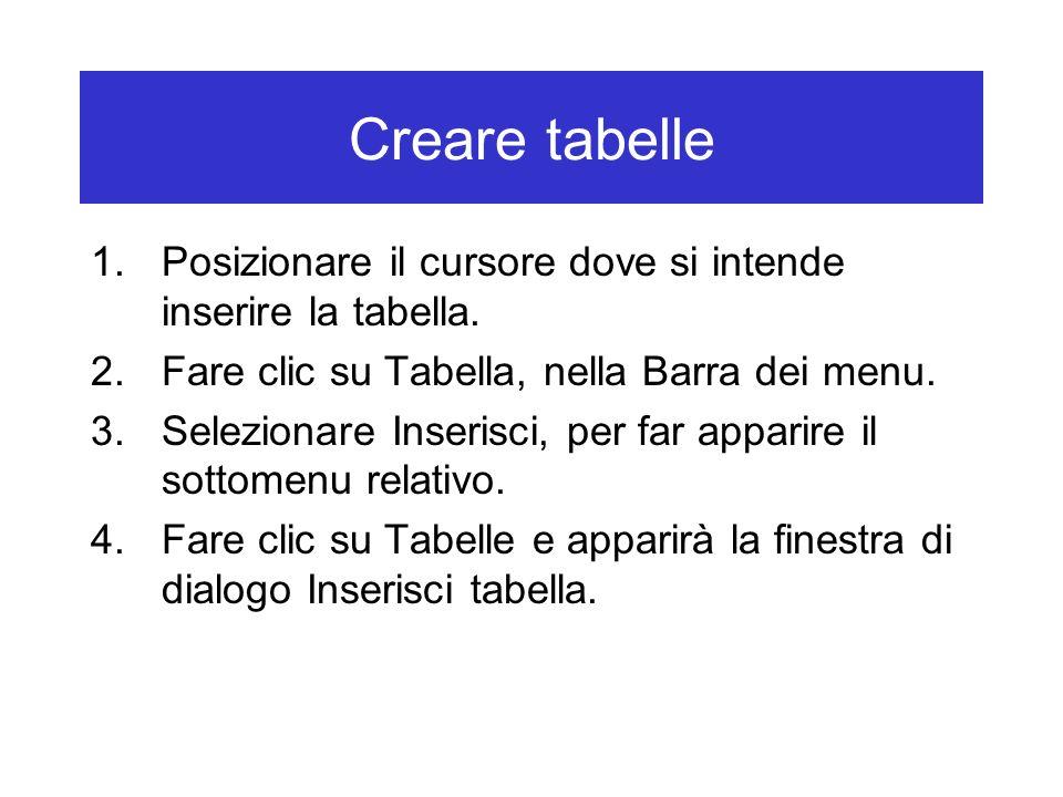 Creare tabelle 1.Posizionare il cursore dove si intende inserire la tabella. 2.Fare clic su Tabella, nella Barra dei menu. 3.Selezionare Inserisci, pe